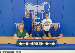 Pictured in this KCC cross-country signing photo, from left to right, are Angela Glubke (mother), Head KCC Cross-Country Coach Erin Lane, Joseph Glubke, Lakeview High School Boy's Cross-Country Coach Jake Zimmerman, and Scott Glubke (father).