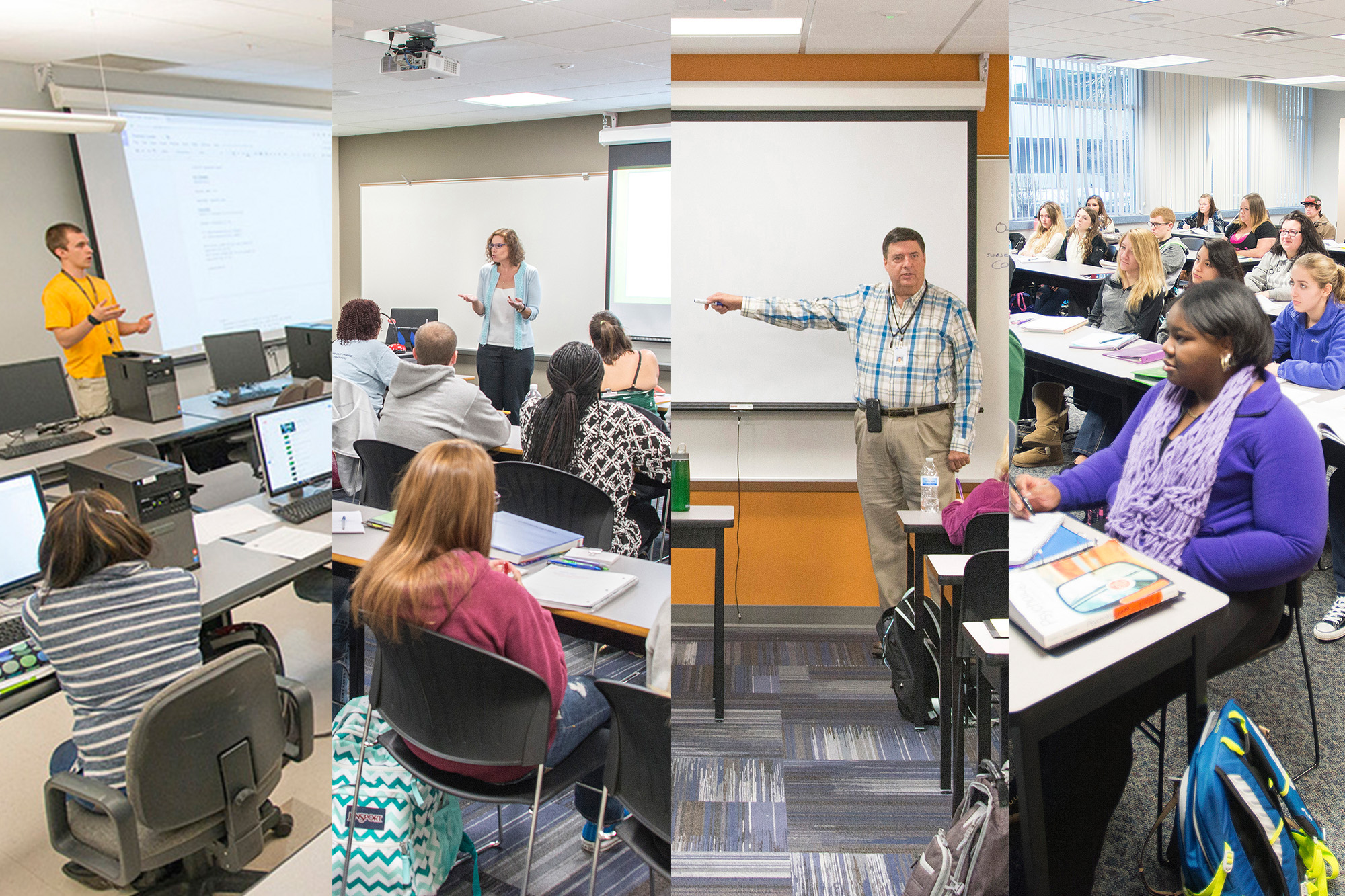 A collage of four classroom photos shot on KCC's North Avenue campus in Battle Creek.