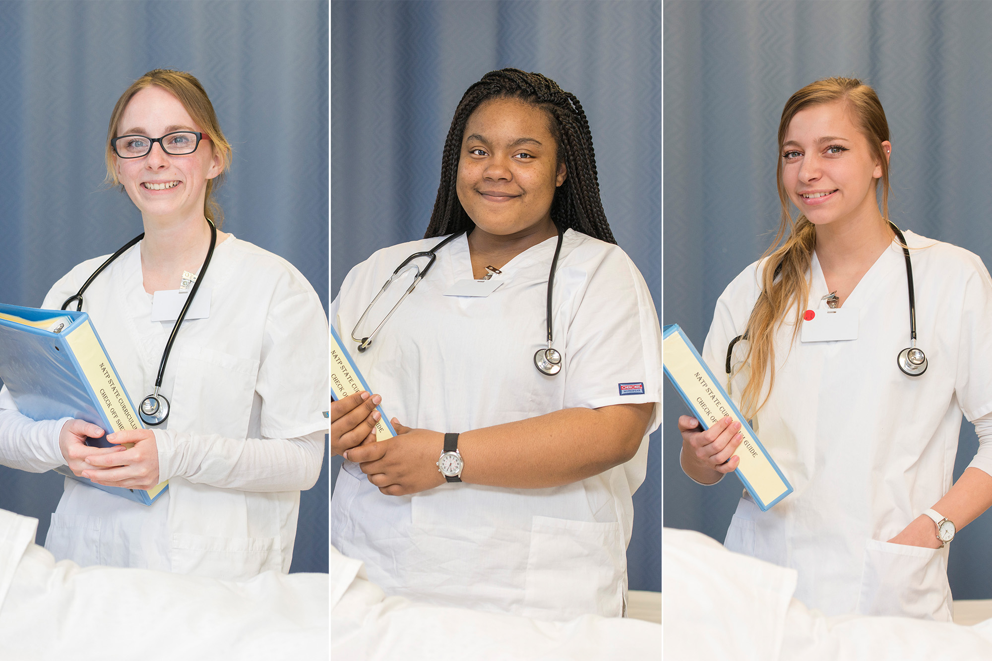 CNA students pose in the CNA Lab on campus in Battle Creek.
