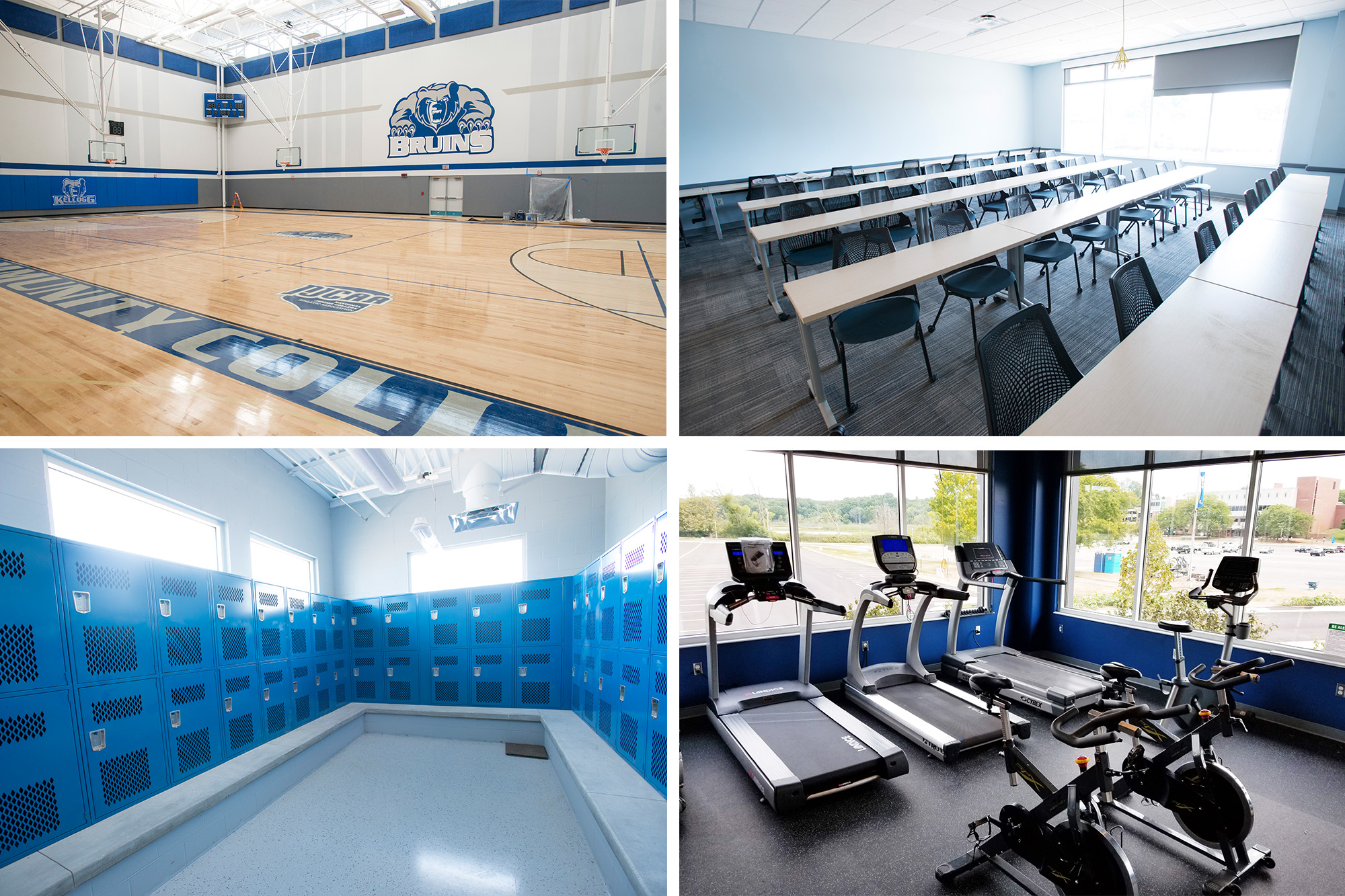Views of the interior of the new Miller Building, including the gym, a classroom, locker room and fitness area.
