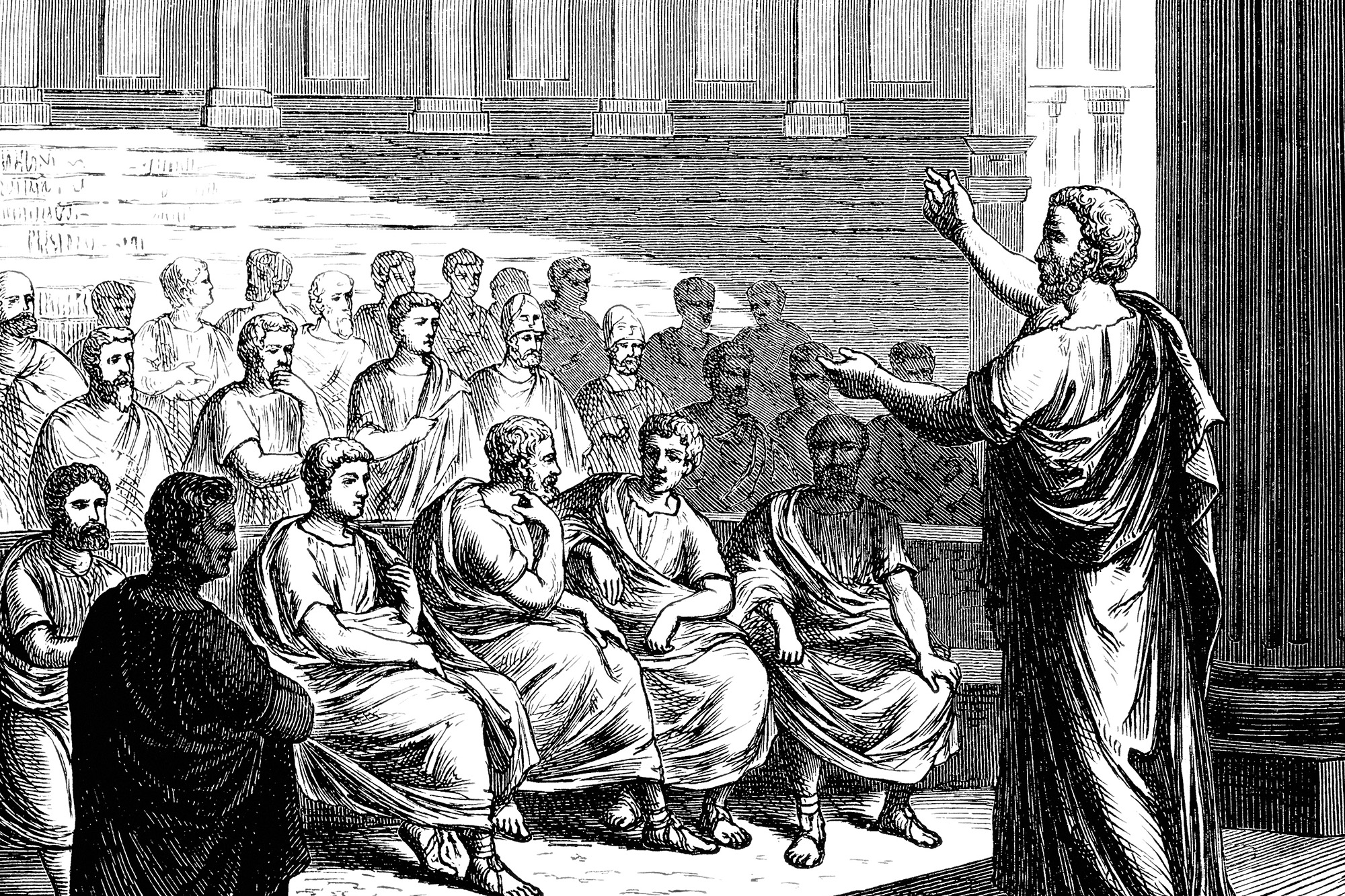 An engraving of a Greek orator addressing an audience.