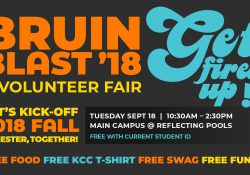 A text slide promoting KCC's 2018 Bruin Blast, scheduled for 10:30 a.m. to 2:30 p.m. Sept. 18 on the North Avenue campus in Battle Creek.