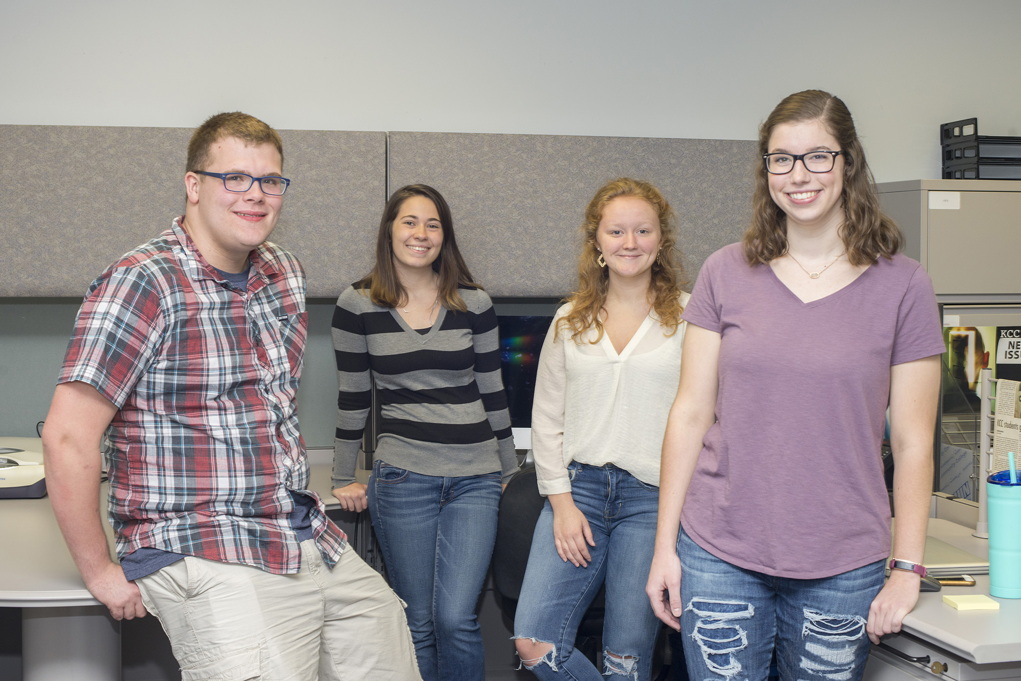 Pictured, from left to right, are Bruin News staff writers Seth Allred and Mackenzie Ryder, Managing Editor Taylor Vrooman and Public Editor Sarah Hubbard.
