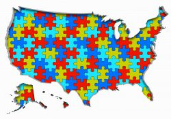 A stock illustration showing the U.S. made up of puzzle pieces to illustrate gerrymandering.