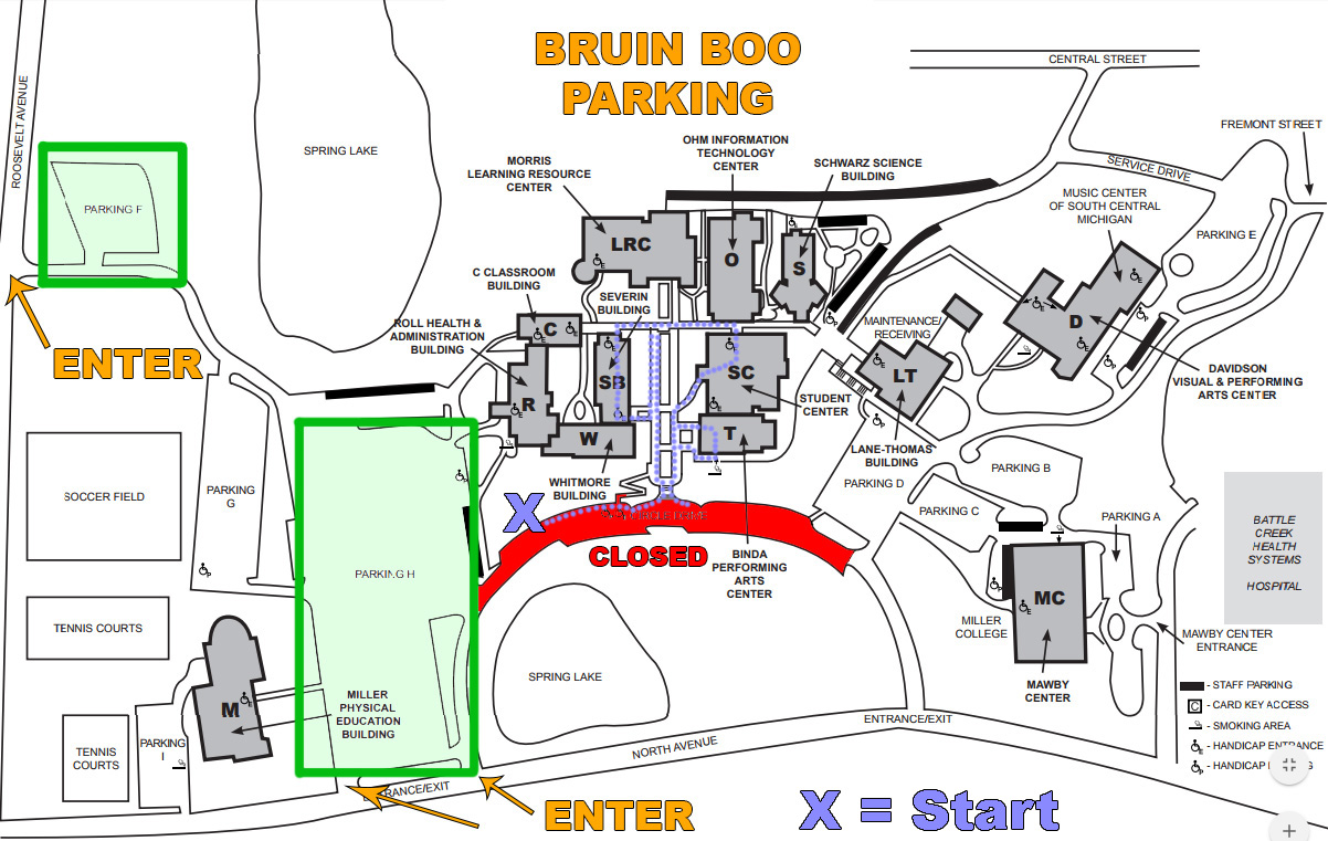 A map showing parking areas in the F and H lots on the north side of campus for KCC's Bruin Boo event Oct. 25.