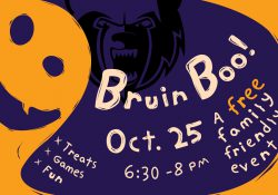 A digital slide picturing a graphic of a ghost with information about KCC's 2018 Bruin Boo Halloween event, scheduled for 6:30 to 8 p.m. Oct. 25 on KCC's North Avenue campus in Battle Creek.