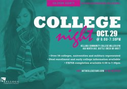A text slide promoting KCC's Calhoun County College Night, scheduled for 6 to 7:30 p.m. Oct. 29 at the Miller Gym.