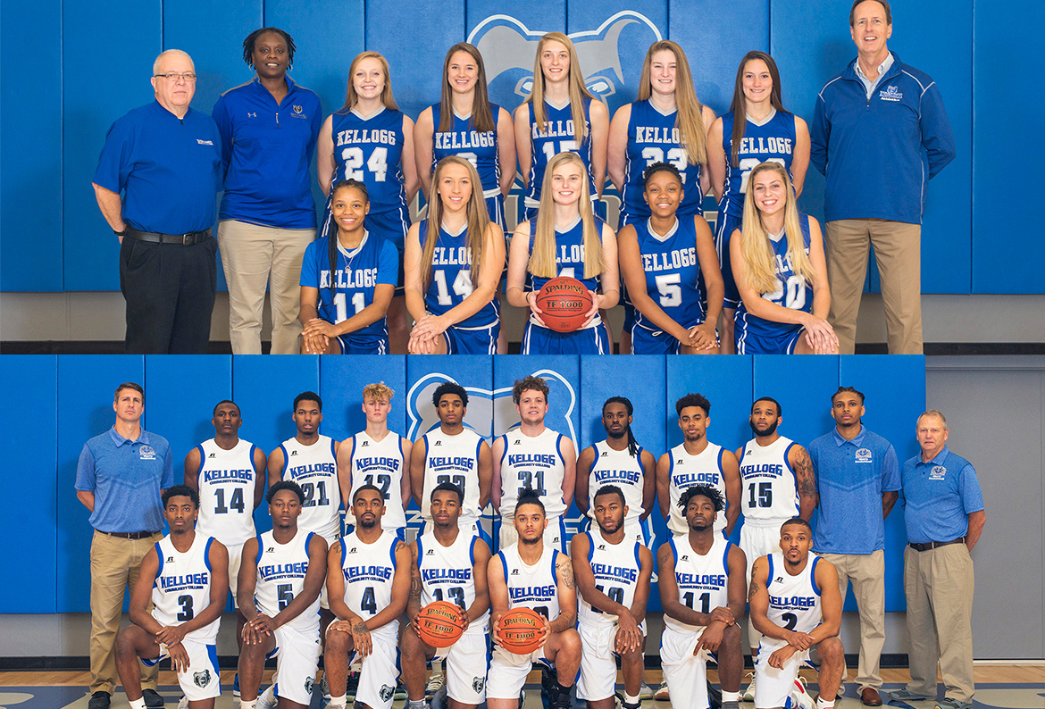 KCC's 2018-19 men's and women's basketball teams.