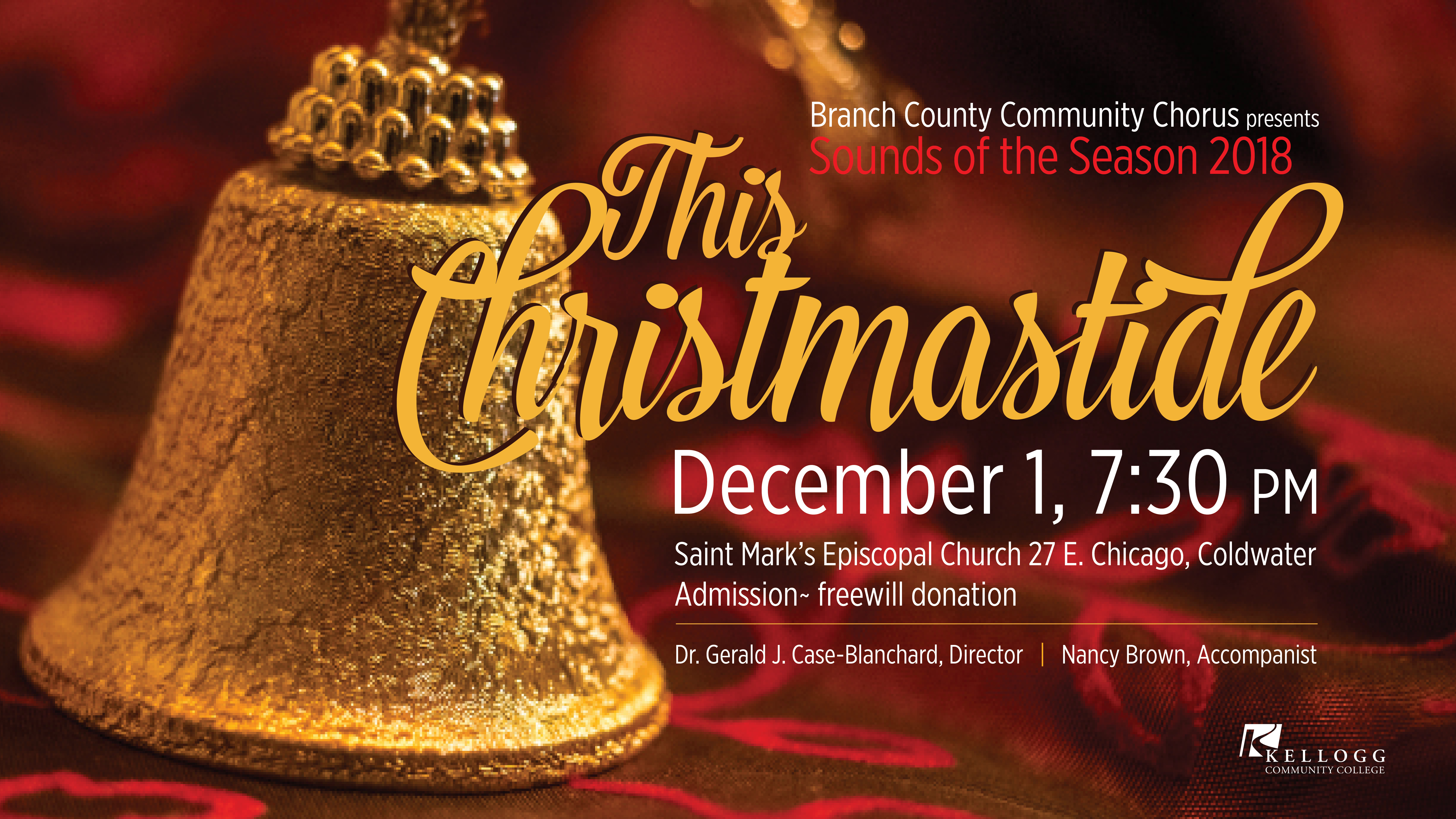 A text slide promoting KCC's upcoming holiday concert.