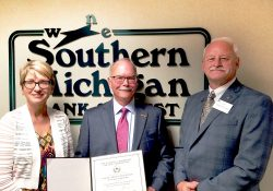 Pictured, left to right, are KCC Foundation Executive Director Teresa Durham, Southern Michigan Bank & Trust Chairman and CEO John Castle and KCC President Mark O'Connell.