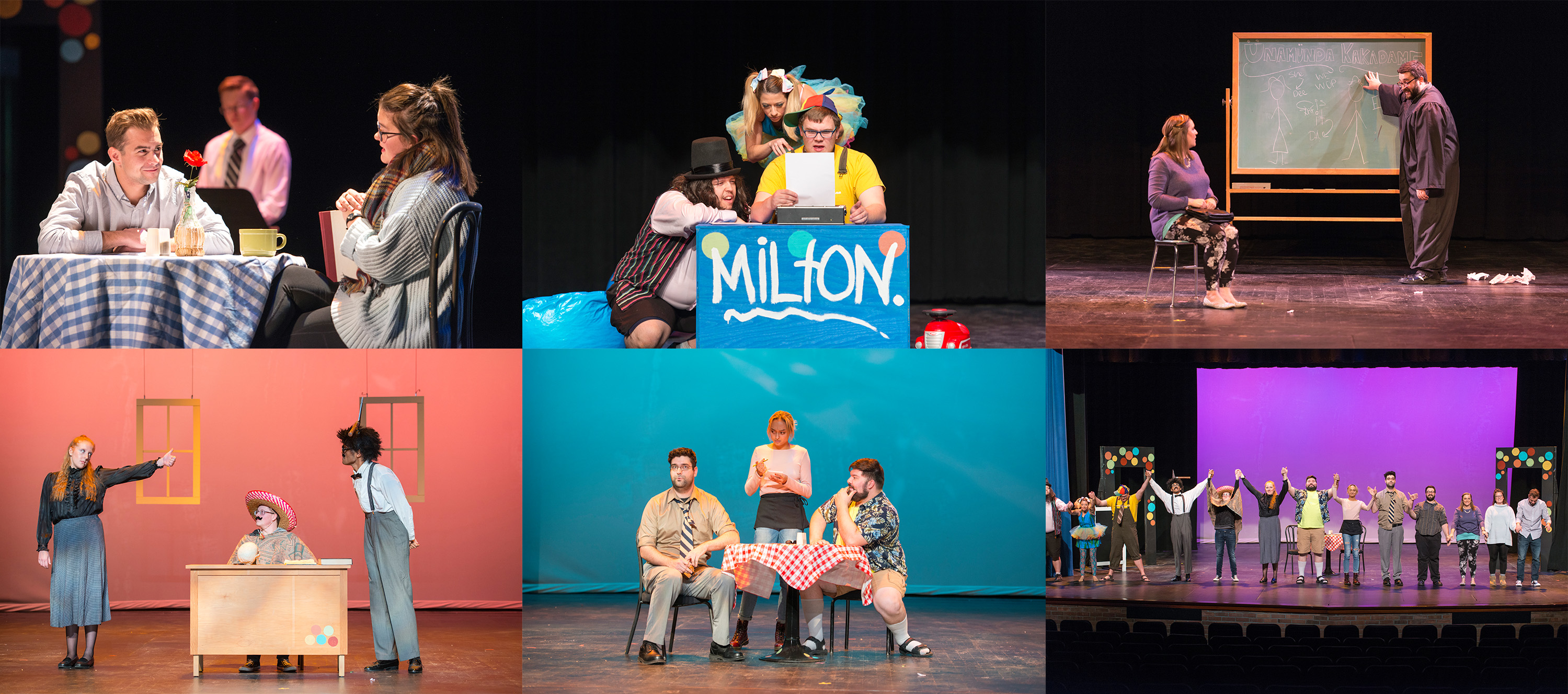 "A collage of dress rehearsal photos from KCC's fall play ""All in the Timing."""