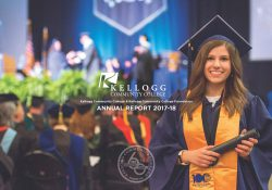 The cover to KCC's 2017-18 Annual Report, featuring a student posing during Commencement.