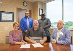 Pictured in the front row, from left to right, are KCC Foundation Director Teresa Durham, Calhoun County Board Chair Derek King and KCC President Mark O'Connell. In the back row, from left to right, are Calhoun County Veterans Affairs Director Aaron Edlefson and Committee Chairperson Sam Gray.