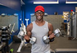 KCC student Damian Johnson works out in the Miller Building weight room.