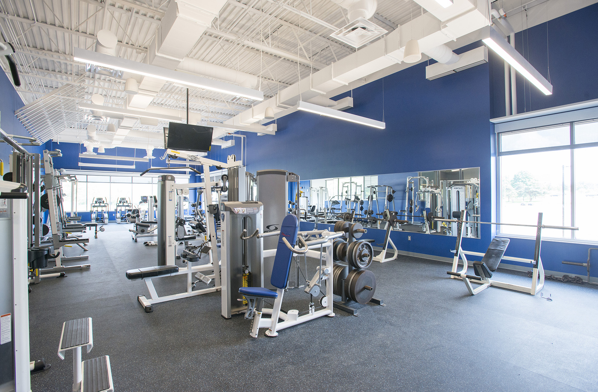 The weight room in the KCC Miller Building.