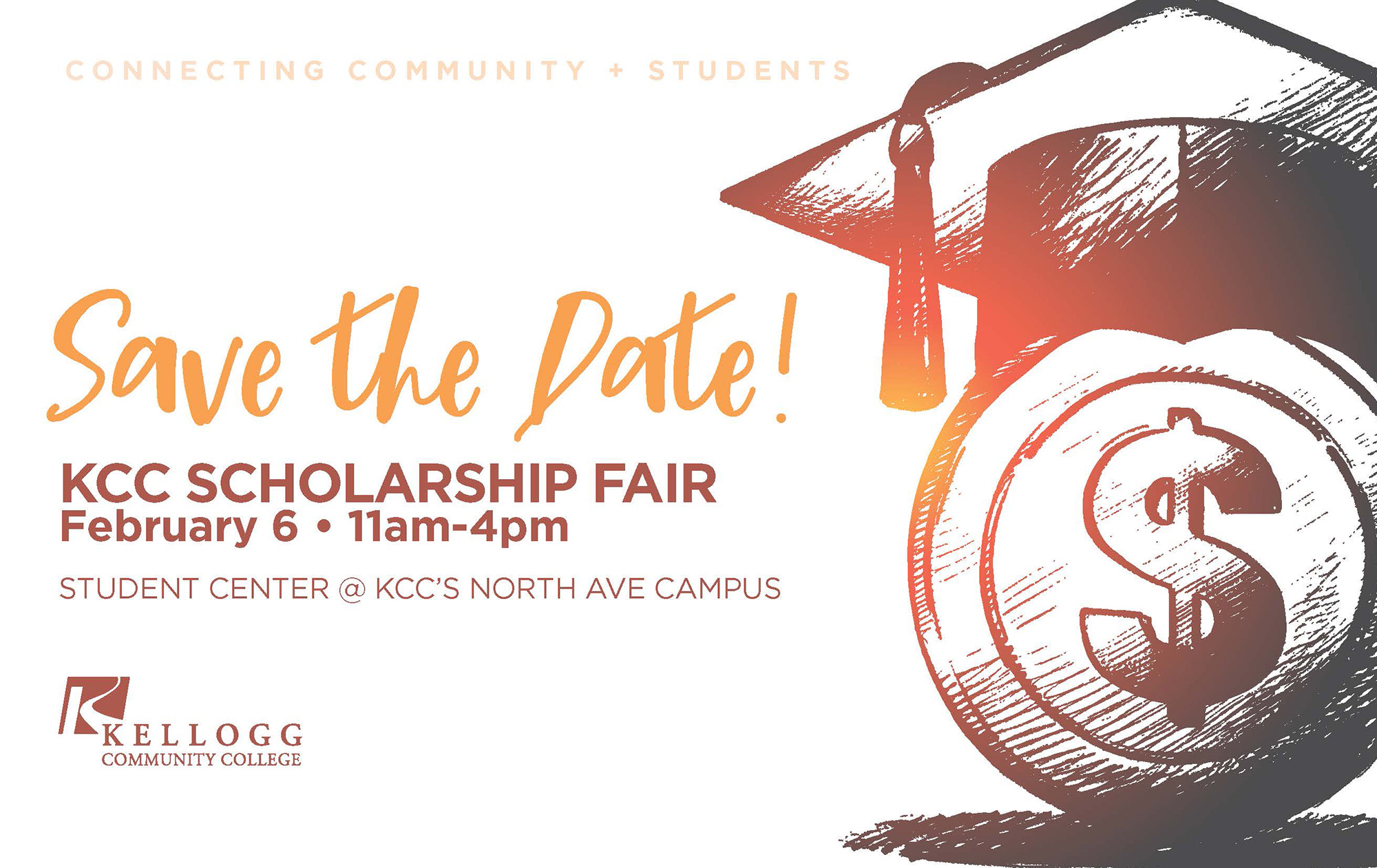 An illustration of a money sign with a graduation cap on illustrates a text slide promoting KCC's Scholarship Fair.