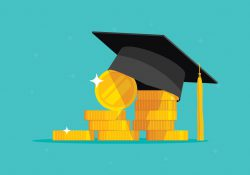 An illustration of a pile of coins topped by a graduation cap.