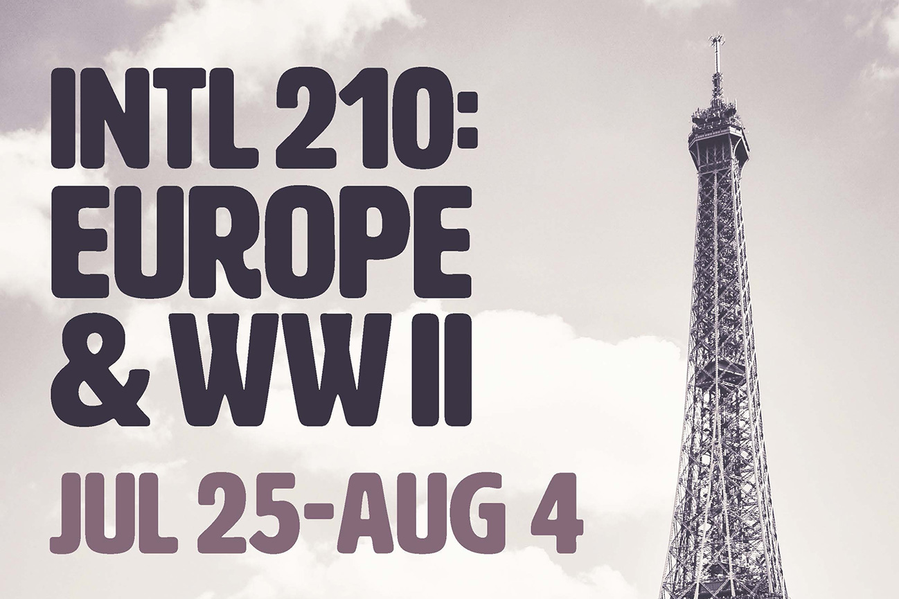 A text slide promoting KCC's INTL 210 course to Europe, featuring the top of the Eiffel Tower.