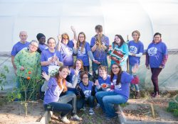 Bruins Give Back participants pose for a group photo while serving in KCC's community garden.