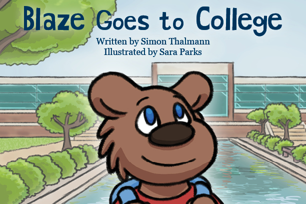 "Detail from the cover of ""Blaze Goes to College,"" a new children's book being published by Kellogg Community College."