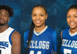 From left to right, men's basketball player Tishaun Cooper and women's basketball players Destiny Kincaide and DeeDee Post.