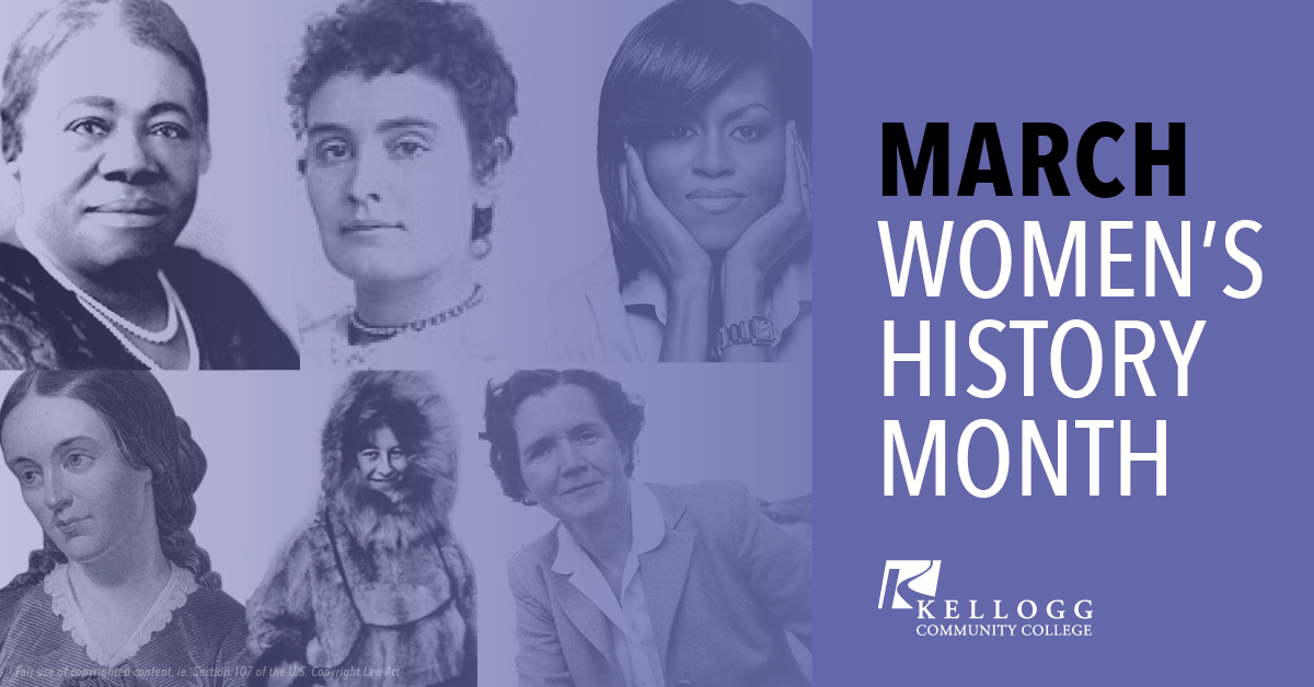 Portraits of historical women on a slide promoting Women's History Month at KCC.