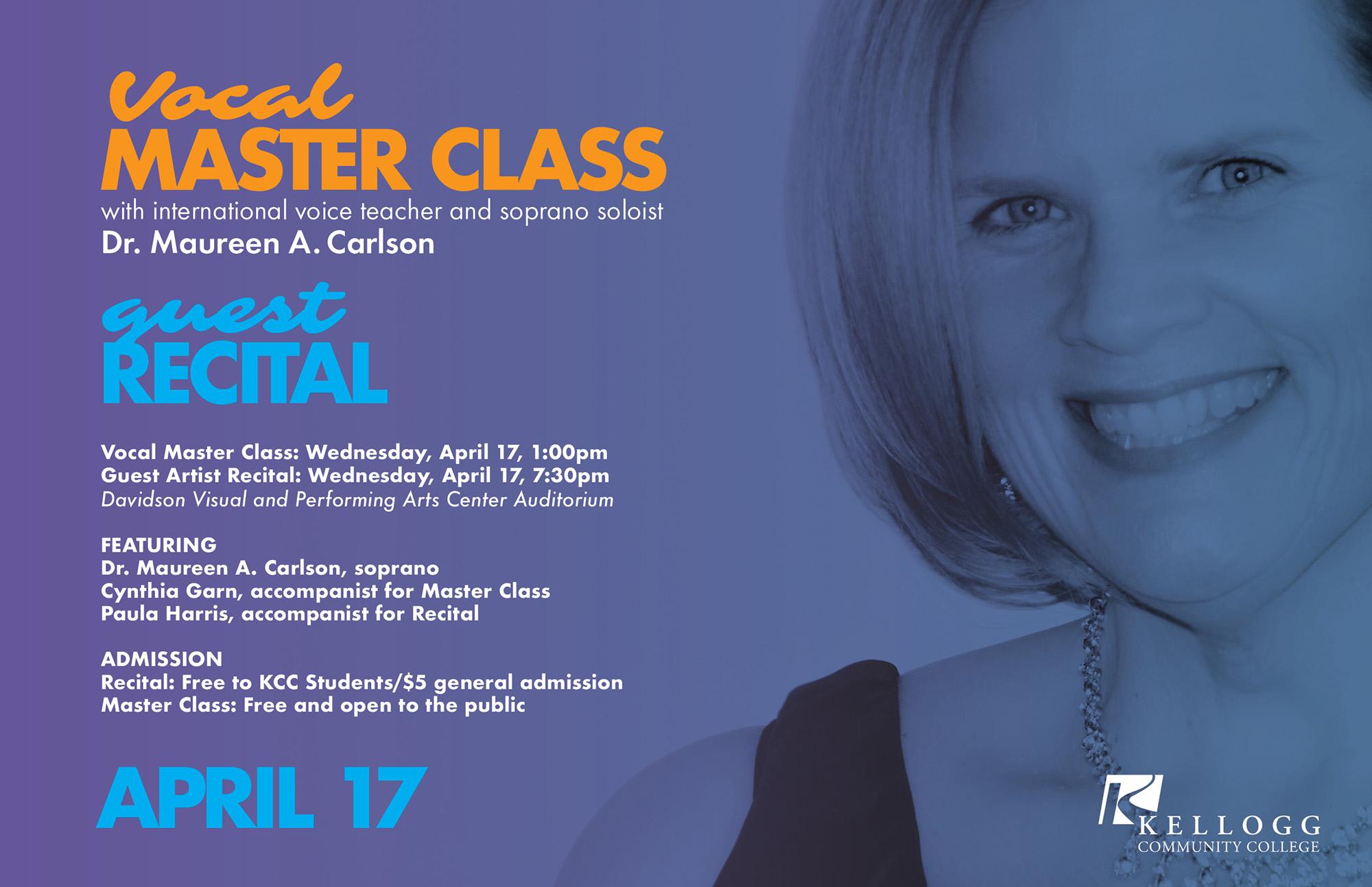 A text slide promoting Dr. Maureen Carlson's upcoming recital at KCC.