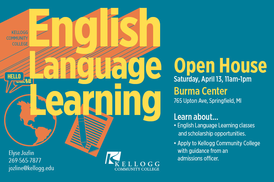 A text slide promoting KCC's upcoming English Language Learning Open House at the Burma Center April 13.