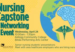 A text slide promoting KCC's 2019 Nursing Capstone & Networking event, featuring the illustration of a human head and brain and nursing symbol.