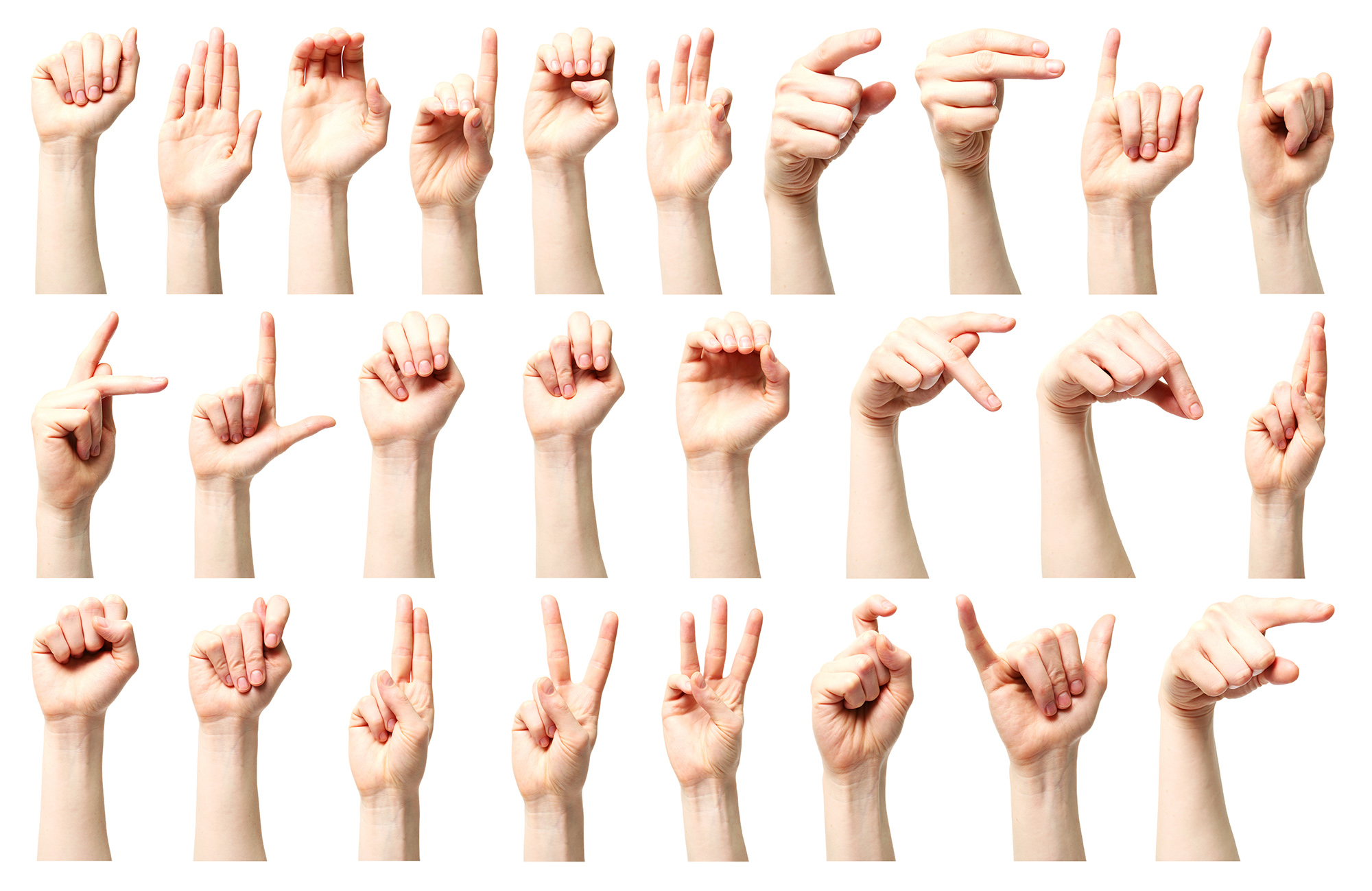 Hands signing the alphabet in American Sign Language.