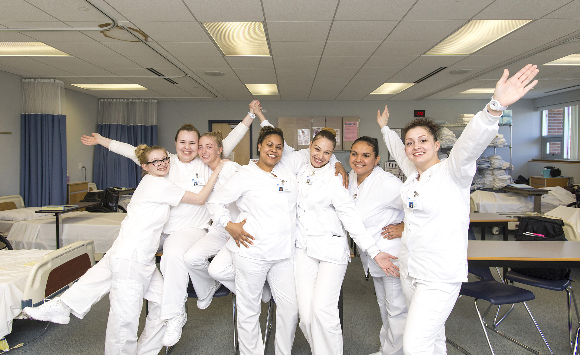 CNA students pose for a group photo in the CNA Lab on KCC's North Avenue campus in Battle Creek.