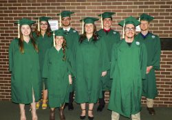 Pictured after their MSU graduation last month are KCC's first Agricultural Operations Program graduates, in the front row, from left to right, Kelsey Harmon, Crystal Raynes, Kaycee Klaren and Benjamin Geibig. In the back row, from left to right, are Breanne Marske, Ean Johnson, Jacob Shilling and Dwight Devenney. Photo courtesy of Kaite Fraser.