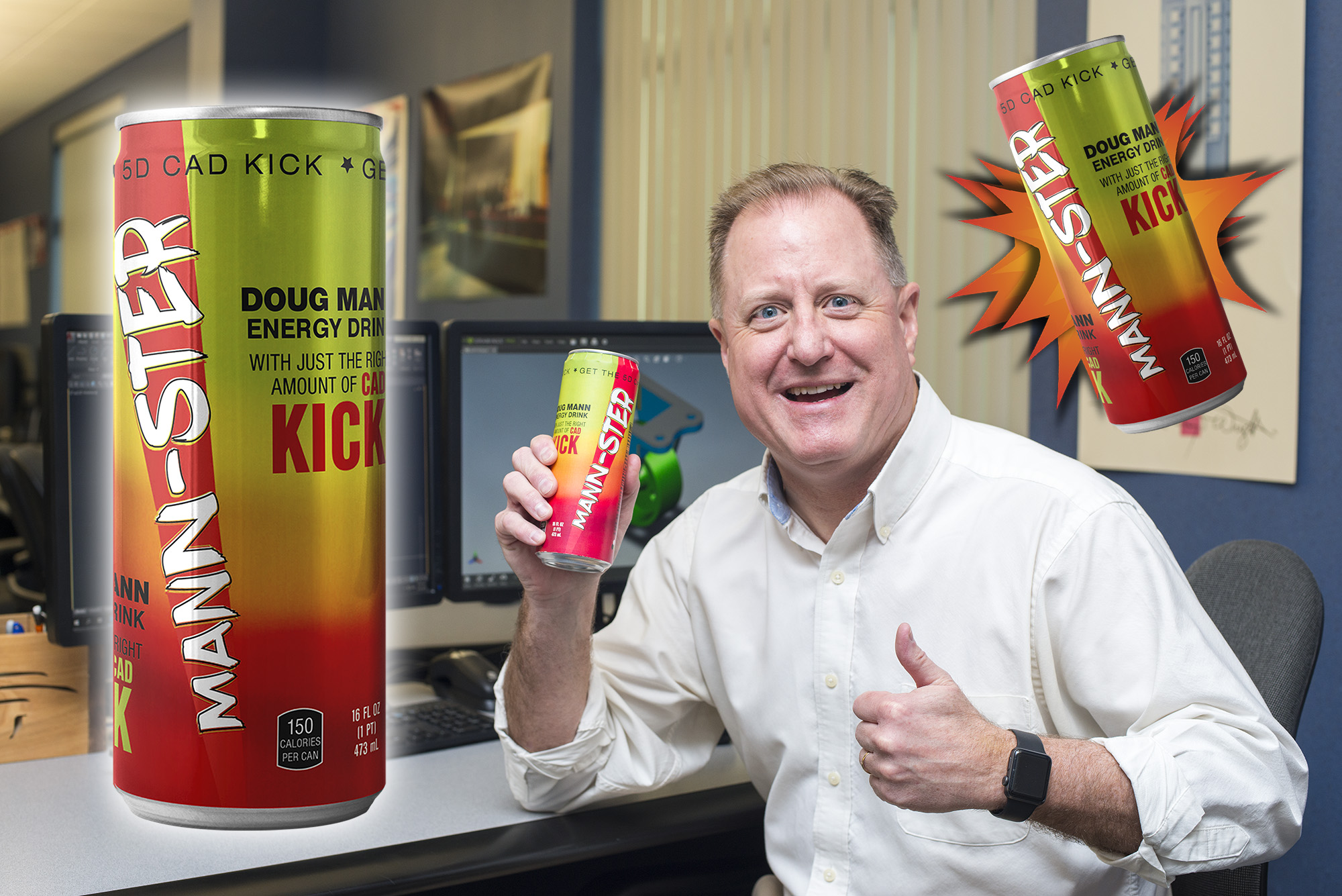 CAD professor Doug Mann gives a thumbs up while holding a can of MANN-STER energy drink in the CAD Lab.