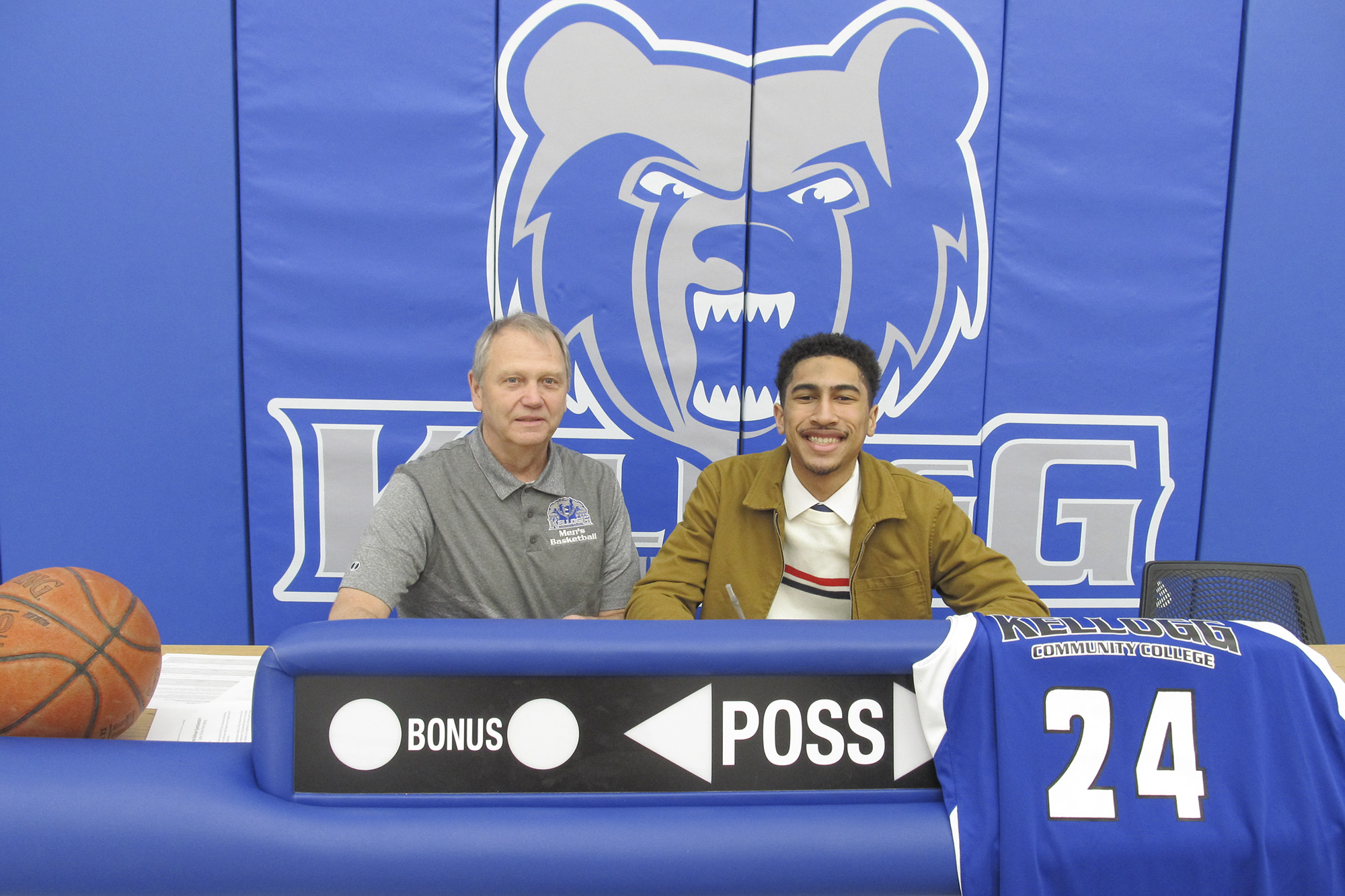 Pictured, from left to right, are KCC's Head Men's Basketball Coach Gary Sprague and Alika Edmonds.