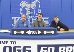 Pictured, from left to right, are KCC's Head Men's Basketball Coach Gary Sprague, Ryan Flikkema and Valerie Flikkema (mother).