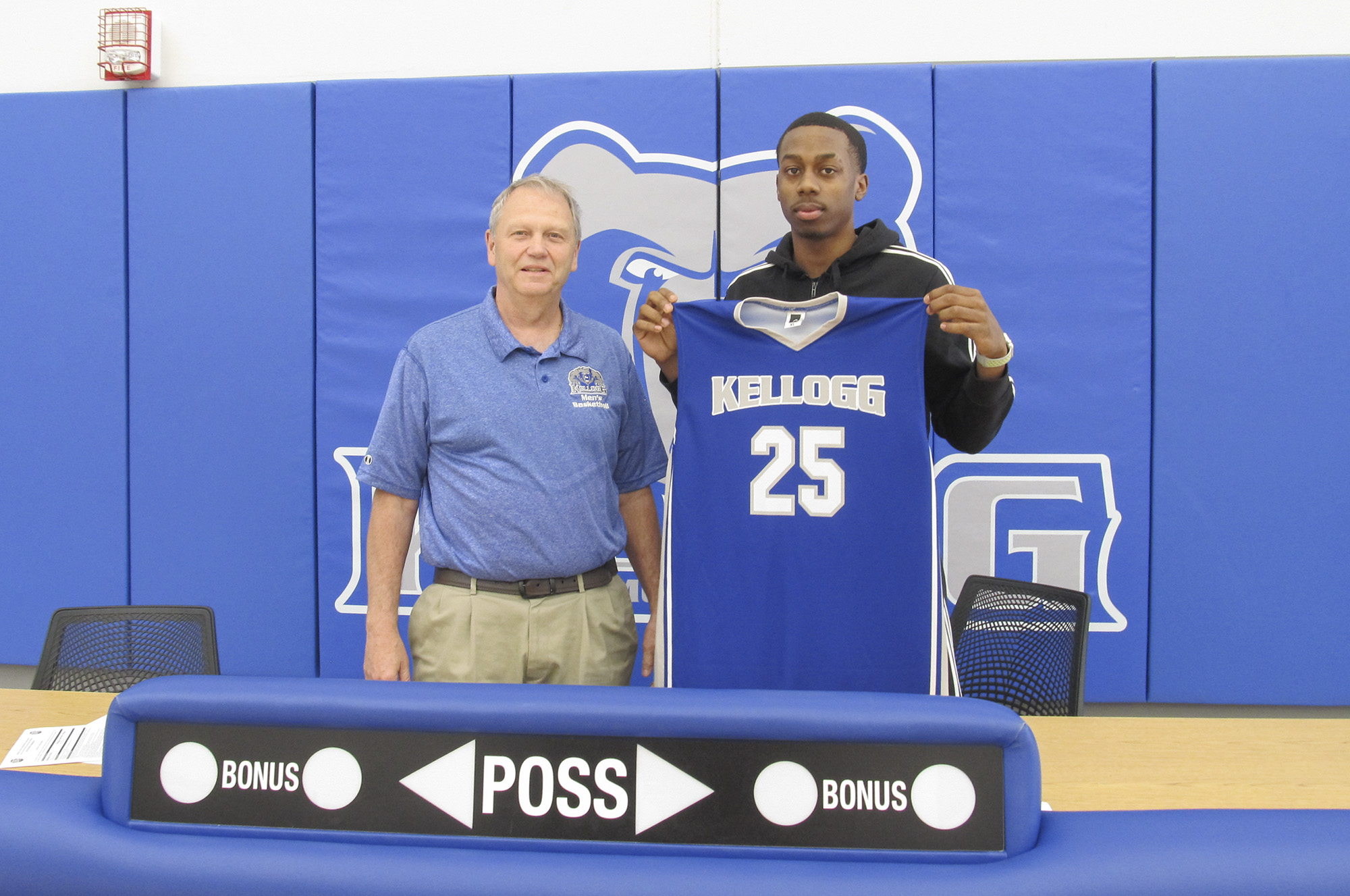 Pictured, from left to right, are KCC's Head Men's Basketball Coach Gary Sprague and TahVeayr Boykins.
