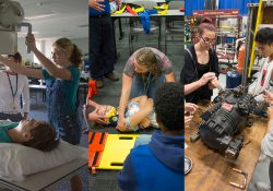 Students practice hands-on career activities during Career Exploration Experience camps at KCC.