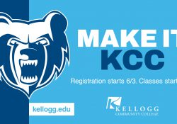 "The KCC Bruin logo and text that reads ""Make It KCC"" on a promotional slide highlighting fall registration."