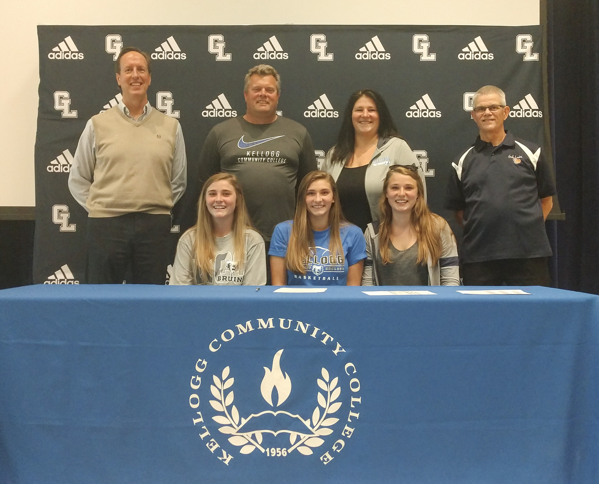 Pictured, in the front row, from left to right, are Anna DeWaters (sister), Audrey DeWaters and Emily DeWaters (sister). In the back row, from left to right, are KCC's Head Women's Basketball Coach Dic Doumanian, Todd DeWaters (father), Rhonda DeWaters (mother) and Gull Lake High School's Head Varsity Girls Basketball Coach Mike Balcom.