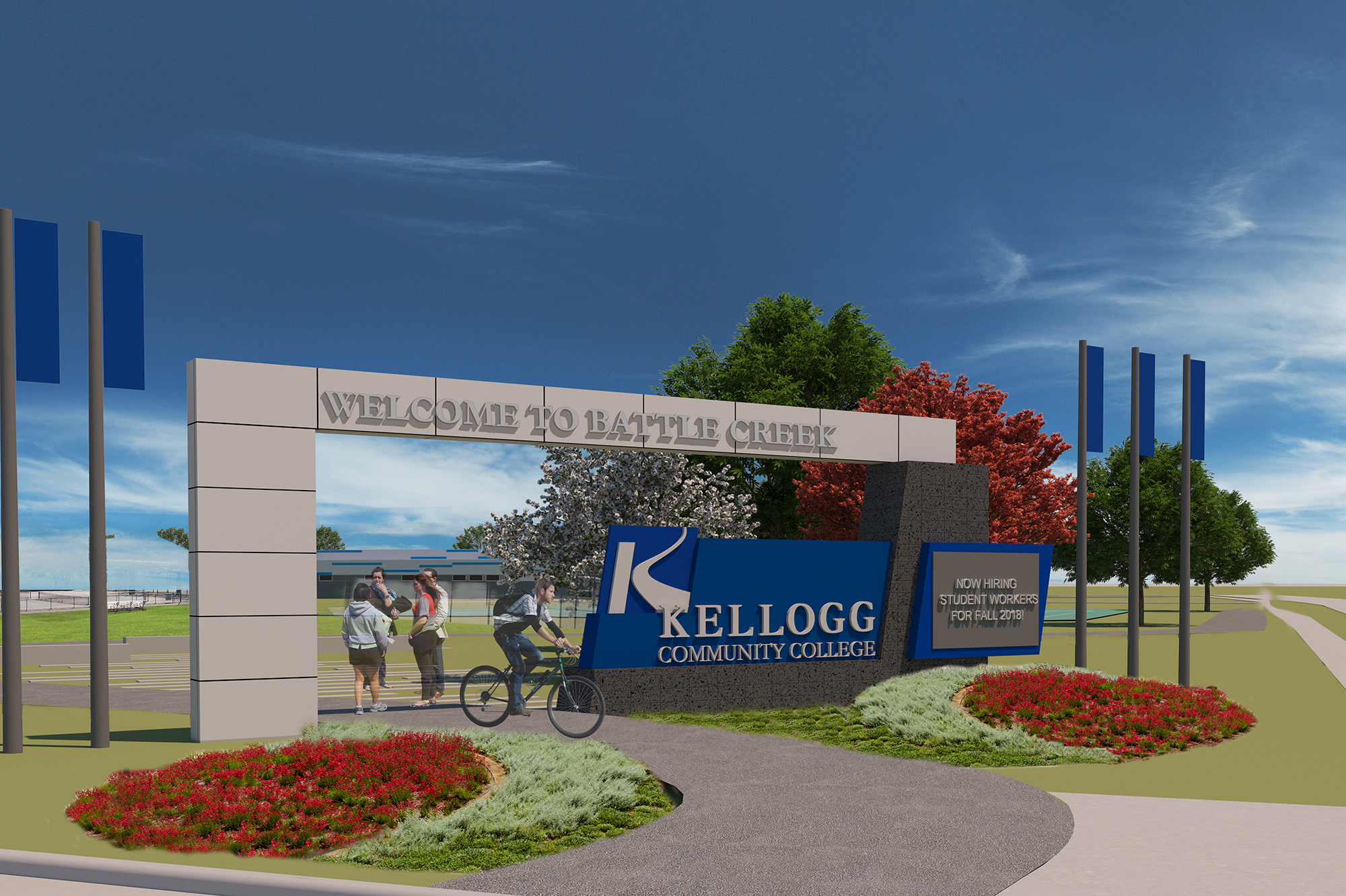A rendering of a new signage project to be completed this summer on the corner of Roosevelt and North avenues.