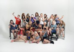 Campers from KCC's youth photography camp in 2018 pose for a group photo.