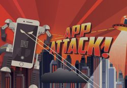 An illustration of a smartphone robot and UFO attacking a city in a promotional image for KCC's App Attack! summer camp for youth.