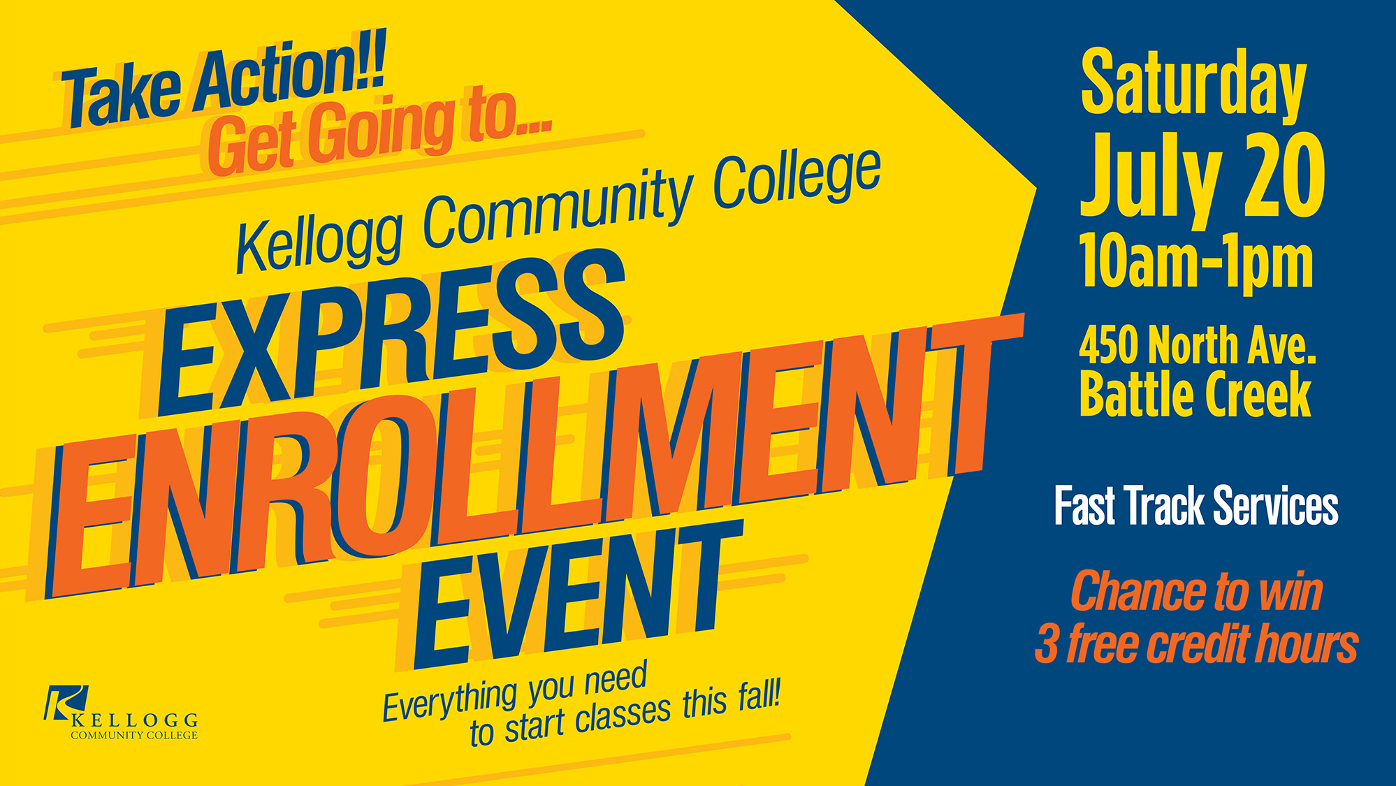 A text slide promoting KCC's Express Enrollment Event.