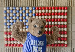 KCC mascot Blaze flexes in front of an American flag made of baseballs at C.O. Brown Stadium.
