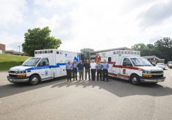 Pictured are KCC and MAFFAA officials with the donated and newly refurbished ambulance on the left. From left to right are MAFFAA Basic EMTs Kristen Jaskiw and Abigail Sanger, KCC EMS Education Faculty Coordinator Clark Imus, KCC Public Safety Education Director Rob Miller, MAFFAA Executive Director Mark Burke, MAFFAA Operations Manager Nick Smith and MAFFAA Basic EMT Josh Turner.