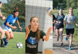 A collage of sports photos including women's soccer and women's volleyball players and cross country runners.