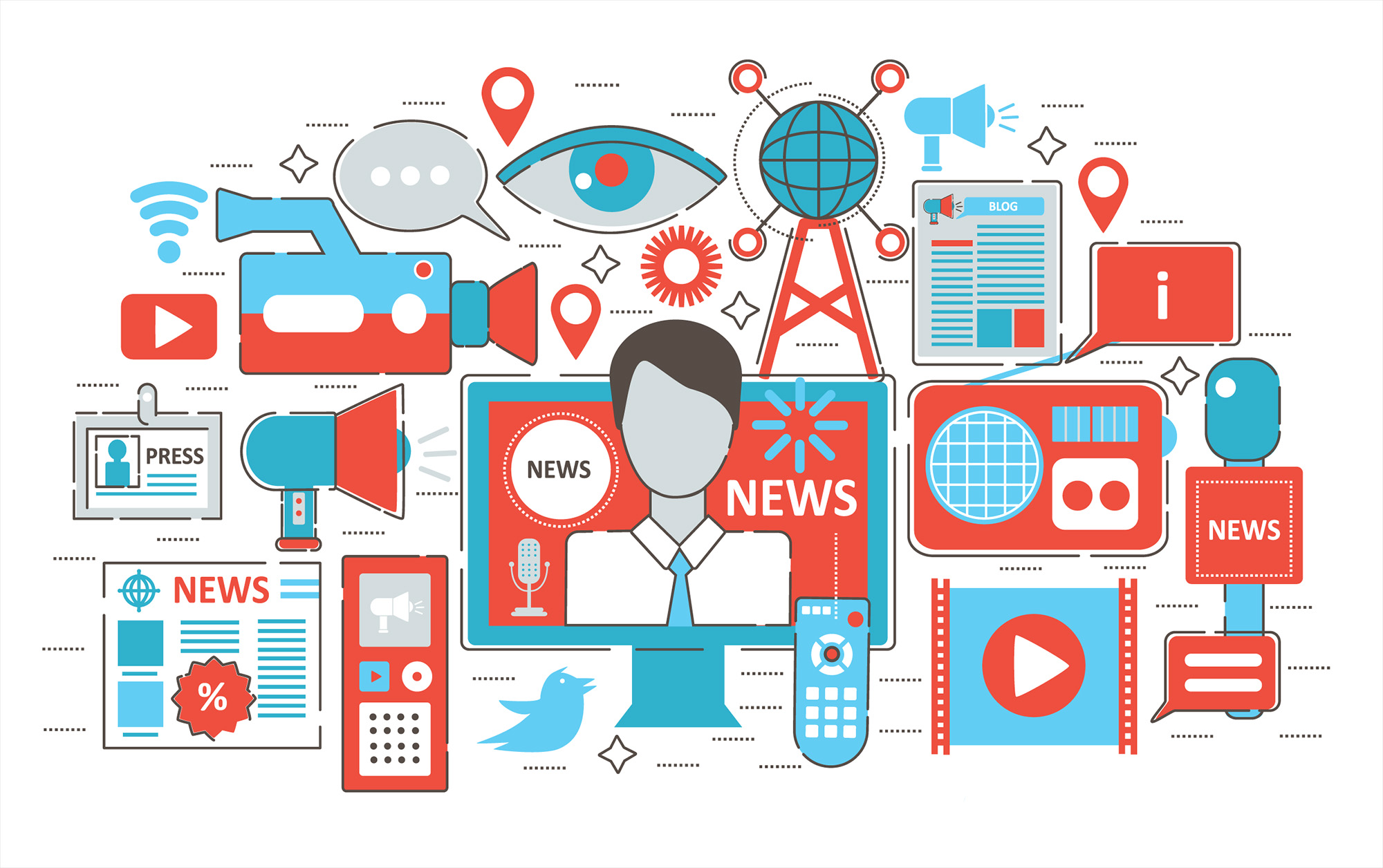 An illustration of various mass media graphics, like cameras, eyes, mobile devices, etc.