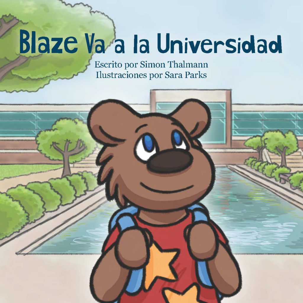 "The cover to KCC's ""Blaze Va a la Universidad"" children's book."