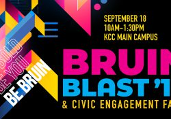 A text slide with information about KCC's 2019 Bruin Blast and Civic Engagement Fair.