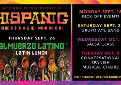 A text slide showing the schedule of Hispanic Heritage Month events at KCC.